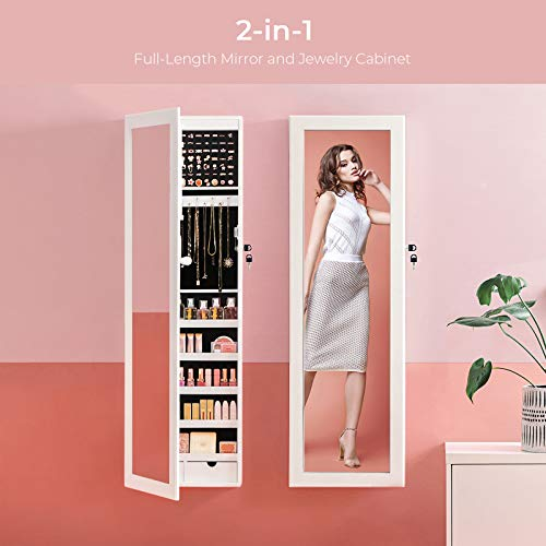 Product Image 2: SONGMICS 6 LEDs Mirror Jewelry Cabinet, christmas gifts for women, 47.3