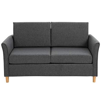 HOMCOM Sofa Double Seat Compact Loveseat Couch Living Room Furniture with Armrest Dark Grey