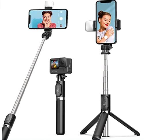 Perche Selfie Trépied Smartphone avec lumière, ARTOFUL Perché à Selfie...