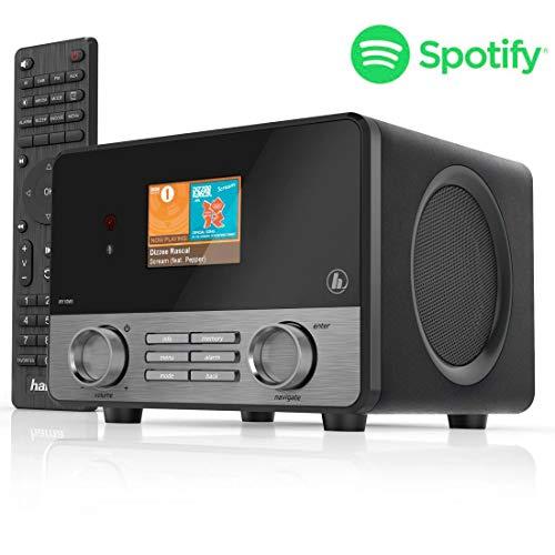 Hama Radio Internet 'IR110MS' (Spotify, Wi-Fi, USB, Multiroom, 30 stations préférés, écran couleur 2,6', éclairé, radio-réveil intégré, avec télécommande, application de radio UNDOK gratuite) Noir