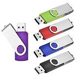 Clé USB 64Go Lot de 5 Cles USB 2.0 Clef USB Mémoire Stick Flash Drive Pivotant...