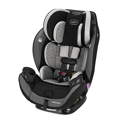 Evenflo EveryStage DLX All-in-One Car Seat, Kids Rear-Facing Seat, Convertible & Booster Seat, Grows with Child Up to 120 lbs, Angled for Comfort & Safety, 3-Times-Tighter Installation, Canyons Gray