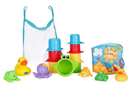 Playgro Badespielzeug-Set, 16-teilig, Ab 6 Monaten, BPA-frei, Badespielzeug Geschenkset, 40115