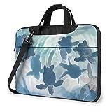 Bolso de Hombro para portátil de 14 Pulgadas Ocean Cute Sea Turtle Impreso a Prueba de Golpes Mochila de Hombro para portátil Impermeable Maletín
