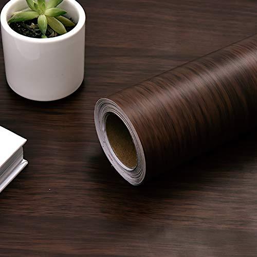 Fantasnight Vinilos para Muebles Grano de Madera Marron Oscuro Papel Adhesivo para Muebles 40×300cm Impermeable Rollo Vinilo Autoadhesivo Papel para Escritorios, Encimeras, Superficies de Muebles