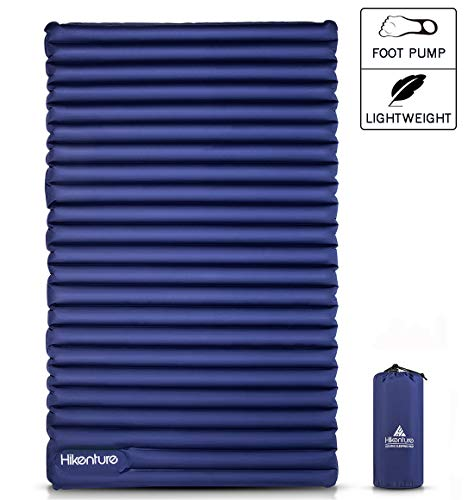 Hikenture Double Sleeping Pad - 2 Person Camping Mattress Inflatable Air Mat with Built-in Foot Pump - Lightweight and Compact - for Backpacking, Car Camping, Hiking, Tent, Truck (Navy Foot Pump)