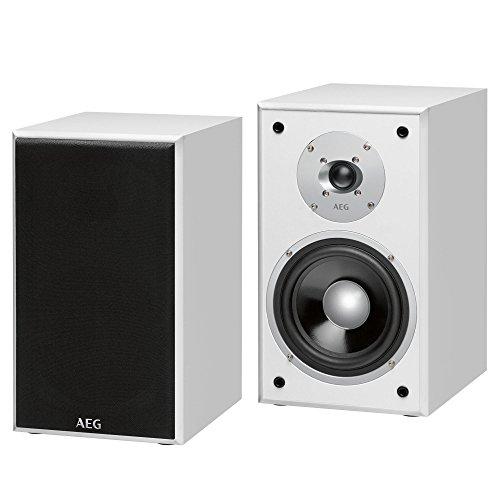 AEG LB 4720, Regal-Lautsprecherboxen, 2-Wege Bassreflex, 1x Hochtöner, 1x Bass-/Tieftöner, 350 Watt PMPO, Abnehmbare Lautsprechergitter, Weiß