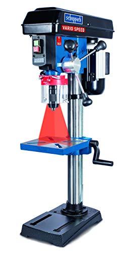 Scheppach Profi Säulenbohrmaschine DP19VARIO Variable Geschwindigkeit (550 W, Gusseisen-Konstruktion, stufenlose Drehzahlregulierung, Bohrfutter 16 mm, Laser)