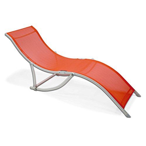 SONLEX Sonnenliege klappbar orange Stahl Relaxliege Gartenliege geschwungen 170 cm bis 100 kg