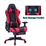 HEALGEN Back Massage Gaming Chair with Footrest,PC Computer Video Game Racing Gamer Chair High Back Reclining Executive Ergonomic Desk Office Chair with Headrest Lumbar Support Cushion GM002 (Red)