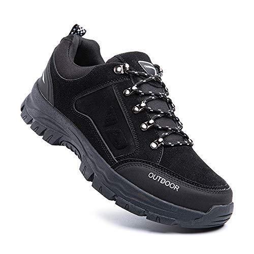 Zapatillas Trail Running Hombre Zapatos Senderismo Deporte Antideslizantes Cordones Ligero 2-Negro EU39
