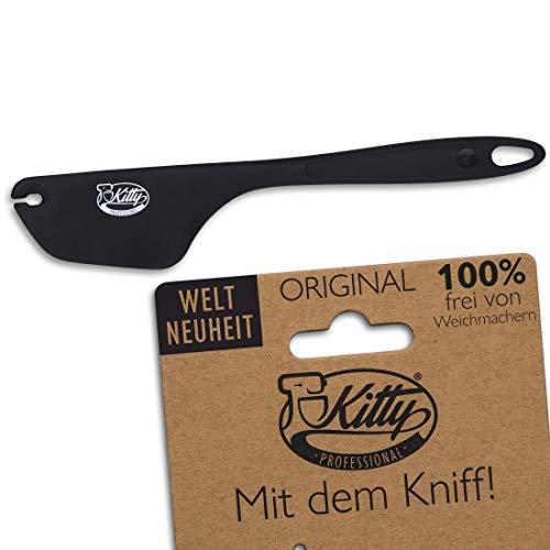 Kitty Professional Silikon Teigschaber mit Kniff 2in1 | lebensmittelecht, spülmaschinenfest, rutschfest | Edelstahlkern | große Auswahl | Backzubehör | Küchenhelfer (Anthrazit