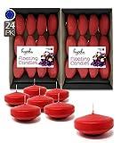 Hyoola Premium Bougies flottantes Rouge 7,6 cm – 8 Heures – Lot de 24 –...