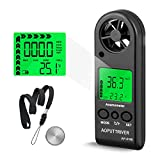 Anemometer Handheld Wind Speed Meter for Measuring Wind Speed, Temperature and Max/Average/Current, High Precision Anemometer Measuring for Windsurfing Sailing Fishing Outdoor Activities