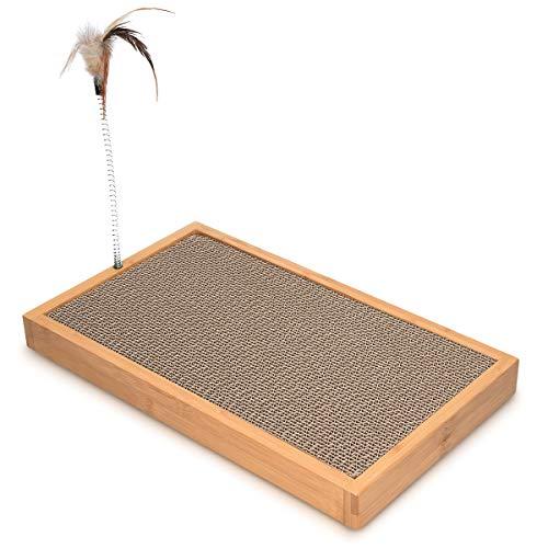 Navaris Rascador para Gato - Tabla de rascar para Mascotas - Tablero afilador de uñas de cartón Corrugado y bambú - con Juguete de Plumas XXL