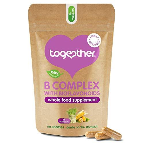 B-Vitamin Komplex von Together Health – B-Vitamin Kapseln aus vollwertigen Nährstoffen – 8 Essentielle B Vitamine & Vitamin C – 30 vegane VegeCaps