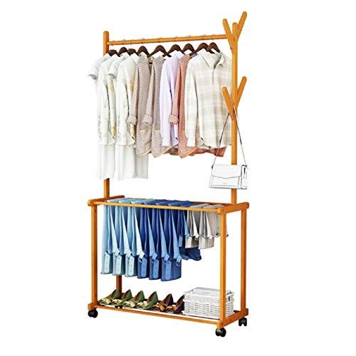 ADA Premium Natural Bamboo Wood Rolling Coat Rack, Garment Rack, Clothes Hanging Rail with 2 Shelves...