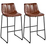 Yaheetech Bar Stools 30'' Industrial Faux Leather Armless Indoor Kitchen Dining Chair Barstools Chairs with Metal Legs Upholstered, Set of 2, Brown