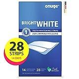 Onuge Bright White Teeth Whitening Strips - Bleaching-Strips zur Zahnaufhellung - Ohne Peroxid - 28 Streifen für 14 Tage