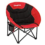 KingCamp Moon Saucer Camping Chair Cup Holder Steel Frame Folding Padded Round Portable Stable with Carry Bag