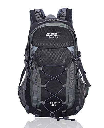 Diamond Candy 40L Waterproof Backpack Hiking Day with Rain Cover for Outdoor Camping Black, 40L