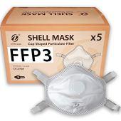 5x FFP3 Mascherine protettive respiratori facciali con Valvola, certificate e conformi CE, confezione da 5