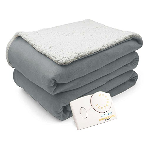 Biddeford Comfort Knit Natural Sherpa Electric Heated Blanket Twin Gray