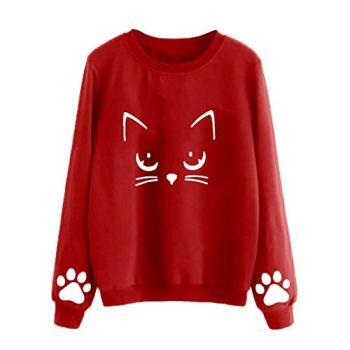 Barkoiesy Sweat-Shirt T-Shirt Femme Pull Mode Chat Chat Sweat-Shirt Grande Taille Automne et Hiver T-Shirt à Manches Longues Couleur Unie Chic Sweat-Shirt Décontracté Manteau Tops