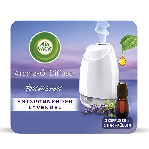 Air Wick Aroma-Öl Diffuser – Starter Set mit Diffuser und Duft-Flakon – Batteriebetrieben – Duft: Entspannender Lavendel – 1 x 20 ml ätherisches Öl + Diffuser in Weiß
