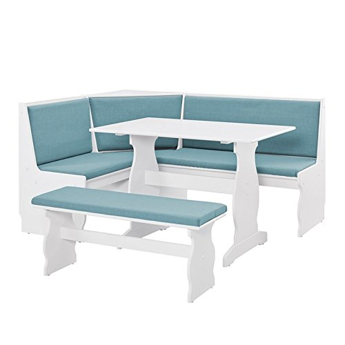 Riverbay Patio Conversation Indoor 3 Piece Kitchen Corner Nook Table Booth Bench Breakfast Dining Set in Capri Blue