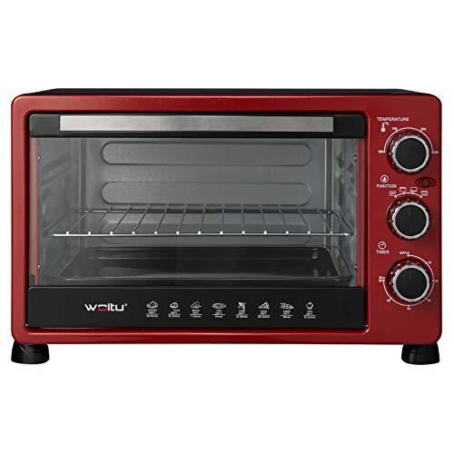 WOLTU BF11rsz Forno Elettrico 25 Litri Forno per Pizza Fornetto, Potenza 1500 W, Timer 60' e 3 Posizioni di Cottura, Rosso+Nero