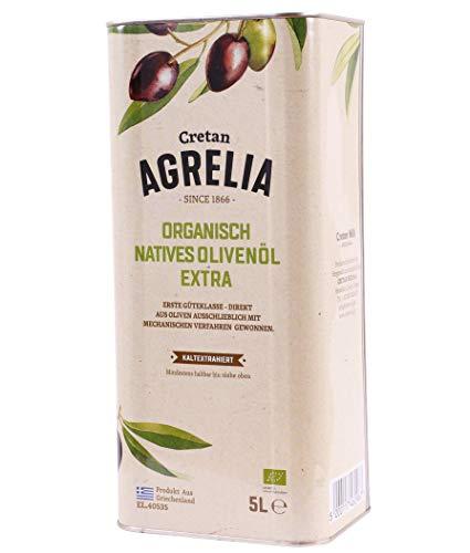 "BIO Olivenöl ""Agrelia"" 5,0l Kanister von Kreta | Extra natives Bio Olivenöl | Kaltgepresst | Aus Griechenland | Almpantakis Family seit 1866 | DE-ÖKO-037"