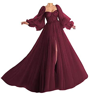 Features: Puffy Sleeve Ball Gown,Tulle Sweetheart A Line Off Shoulder Princess Ball Gowns,Side Slit Puffy Sleeve Prom Dress Long,Lace Bodice Puff Prom Dress for Women,Open Back,Split,Ruffles,Build in bra,Lace Up Back. Customize service: Black Ball Go...