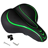 OXYVAN Bike Seat Most Comfortable Universal Replacement Bicycle Seat Cushion Dual Shock Absorbing Ball Wide Bicycle Saddle for Men Women, Green