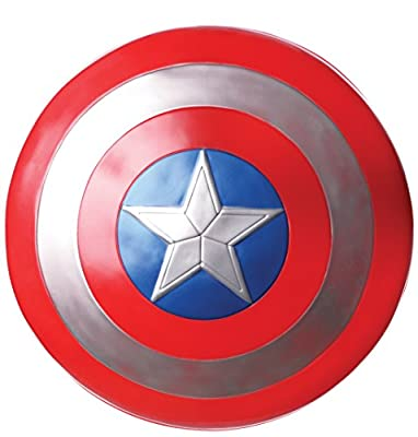 OFFICIALLY LICENSED Captain America: Civil War Movie plastic costume accessory; look for Marvel and Rubie's trademark on label and packaging to help ensure you've receive authentic item PLASTIC Captain America shield with inner arm straps; not intend...