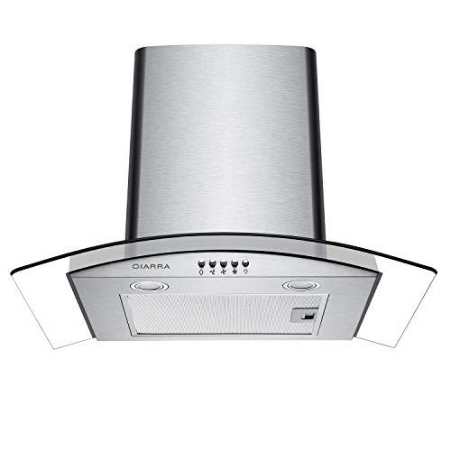 CIARRA CBCS6506B Cappa Aspirante 60 cm in Vetro e Acciaio Inox, Cappa Cucina per 550 m/h, 3 gradini,...
