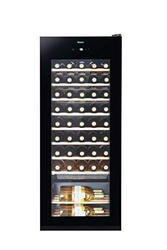 Haier WS50GA Weinkühlschrank / 50 Flaschen / 127 cm Höhe / UV-Schutz / LED-Display zur Temperatureinstellung / Innenbeleuchtung, Schwarz