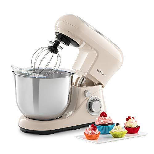 Klarstein Bella Pico 2G - Robot da Cucina, Mixer, Impastatrice, 1200 W / 1,6 PS, 6 Livelli, Sistema di Miscelazione Planetario, Ciotola in Acciaio Inox da 5L, Panna