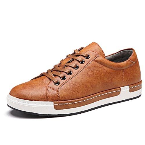 Zapatos de Cordones para Hombre Conducción Zapatillas Cuero Casual Shoes Attività Commerciale Sneakers Negro Gris Marrón Amarillo 38-48 Amarillo 38