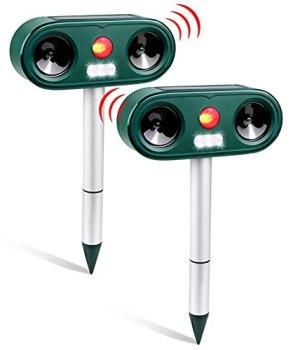 Répulsif Chat Ultrason 2 PCS avec 5 Fréquences Réglables, Animaux Ultrason Sonore avec LED Lampe, 2 Moyens de Charge, Répulsif pour Chats, Chiens, Souris