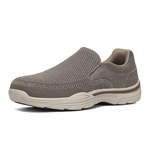 PAMRAY Zapatillas sin Cordones Mocasines para Hombre Sneaker Casuales Zapatillas de Deporte Marrón 46