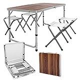 ECD Germany Set Table + 4 Chaises De Camping - Table Pliante Pliable Portable - 120 Cm - En...