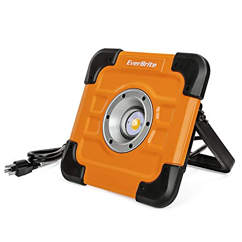 EverBrite 60W 5000LM CREE COB Work Light, Portable Aluminium Flood Light with Stand, Adjustable Lighting Angles, 5FT Cord Included for Car Repairing, Garage, Garden and Lawn