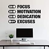 Vinyl Wall Art Decal - On Focus On Motivation On Dedication Off Excuses - 34' x 60' - Trendy Motivational Quote Sticker for Home Gym Bedroom Exercise Room Fitness Workout Crossfit Decor (Black)