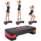JAXPETY New 27'' Fitness Aerobic Step Adjust 4' - 6' Exercise Stepper w/Risers Home Gym (Black&Red)