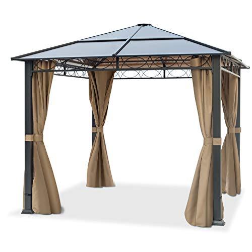 TOOLPORT Gartenpavillon 3x3 m wasserdicht ALU Deluxe Pavillon mit 4 Seitenteilen Partyzelt in Bronze lichtdurchlässiges PC Dach