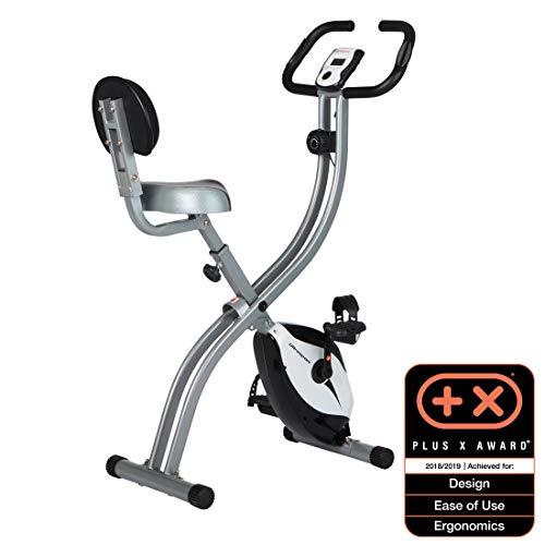 Ultrasport F-Bike 200B Bicicleta estática con sensores de pulso de mano, F-Bike 200B con Respaldo, plegable, Plata / Negro