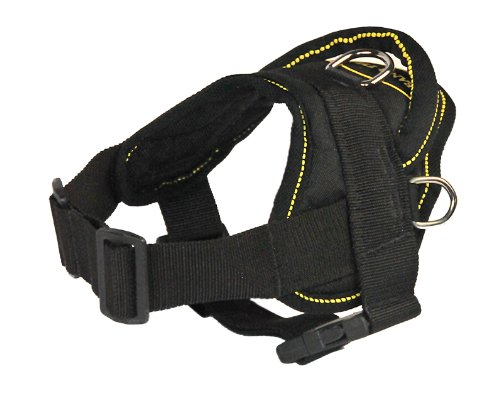 Dean and Tyler DT Dog Harness, Black With Yellow Trim, XX-Small - Fits Girth Size: 18-Inch to 22-Inch