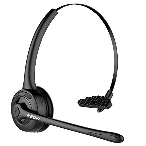 Mpow Pro Trucker Bluetooth Headset/Cell Phone Headset with Microphone, Office Wireless Headset, Over the Head Earpiece, On Ear Car Bluetooth Headphones for Cell Phone, Skype, Truck Driver, Call Center