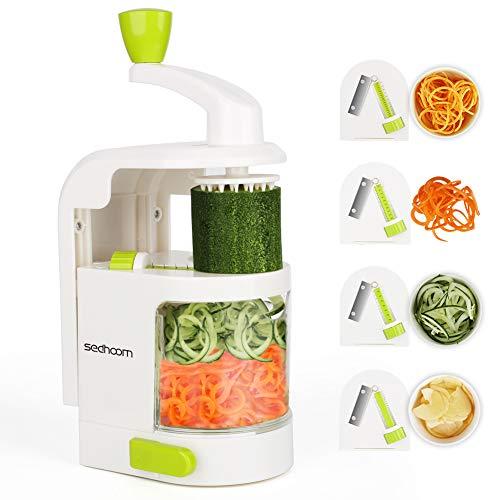 Sedhoom spiralizzatore/Affettatrice di verdure verticale con 4 lame per tagliare/affettare frutta e verdure a julienne, migliore Tagliaverdure/Affettaverdure a spirale affetta zucchine spaghetti